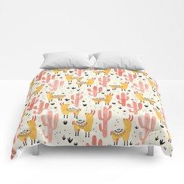 Yellow Llamas Red Cacti Comforters