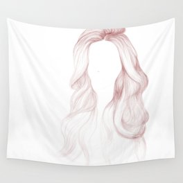 Red Wavy Hair Wall Tapestry