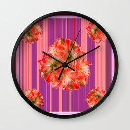 Modern  Red & Purple Flora's Stripes Wall Clock