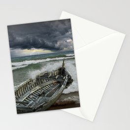 Shipwrecked Wooden Boat amidst Crashing Waves Stationery Cards