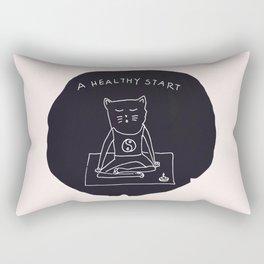 Relax Cat, A Healthy Start, Meditation Rectangular Pillow