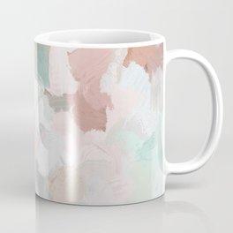 Blush Pink Mint Green Blue Coral Peach Abstract Flower Wall Art Springtime Painting Modern Wall Art Coffee Mug