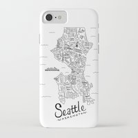 seattle iPhone & iPod Cases featuring Seattle Map by Claire Lordon