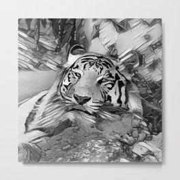 AnimalArtBW_Tiger_20170603_by_JAMColors Metal Print