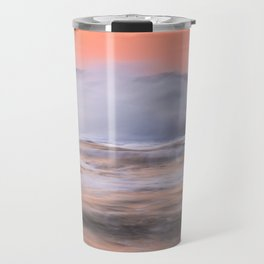 Waves over the pier at sunset Travel Mug