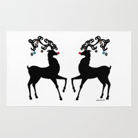 reindeer Area & Throw Rugs featuring Reindeer by Saoirse Mc Dermott