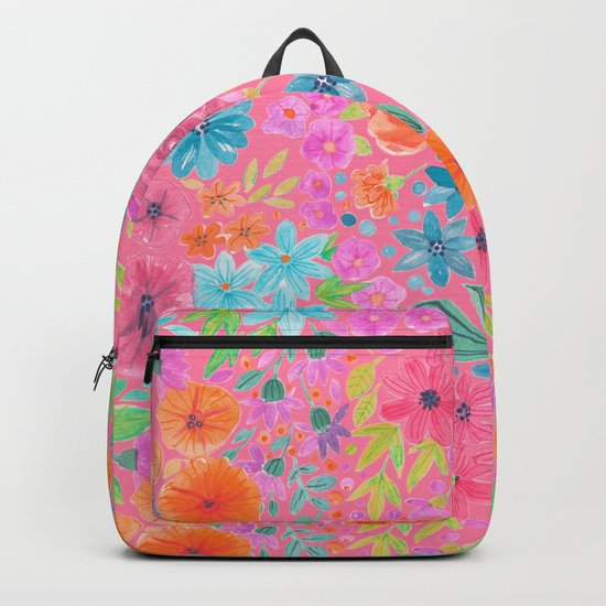 Floral watercolor pattern in pink Backpack