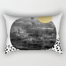 Abstract painting patterns Black and white polka dots painterly texture minimalist art Rectangular Pillow