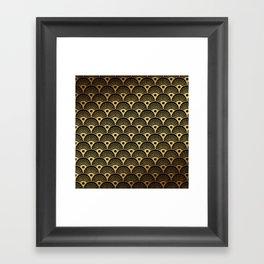 Wonderful gold glitter art deco pattern on black background - Luxury design for your home Framed Art Print