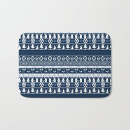Retro . Christmas pattern . Blue background . Bath Mat