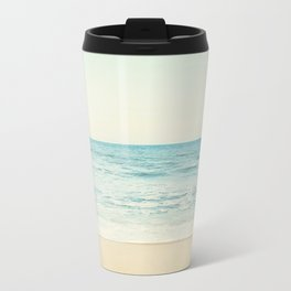 Ocean Landscape Art, Sea Photography, Aqua Seascape, Calming Ocean Horizon Photo Metal Travel Mug