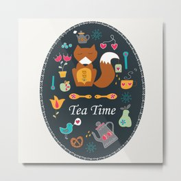 Tea Time with Mr Fox Metal Print