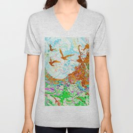 Golden Birds Unisex V-Neck
