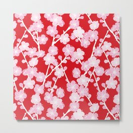 Red Cherry Blossom Pattern Metal Print