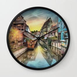 0M-015 - Colmar the Little Venice, French village Lauch river Houses scenery, Travel art, Wall Clock