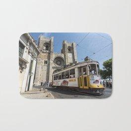 Tram outside Lisbon Cathedral Bath Mat