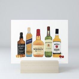 Whiskey Bottles Illustration Mini Art Print