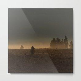 Misty Mountain Morning  // Golden Fog on the Pine Metal Print