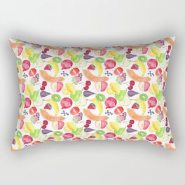 Fruit Medley on White in Watercolor Rectangular Pillow