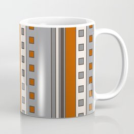 Stripes and Squares in Terracotta and Gray Coffee Mug