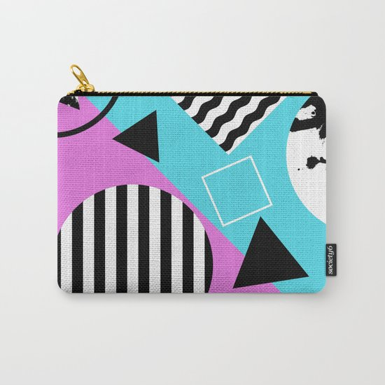 Stripes And Splats 1 - Wacky, Random, Abstract, Black And White Stripes, Blue and pink Artwork Carry-All Pouch