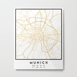 MUNICH GERMANY CITY STREET MAP ART Metal Print