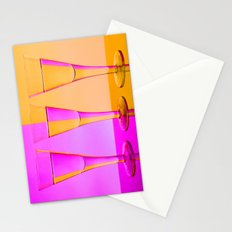 Three Coloured / Colored Wine Glasses  Stationery Cards