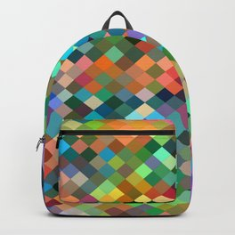 geometric square pixel pattern abstract in orange blue purple pink green yellow Backpack