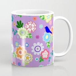 Whimsical Flowers & Birds in Purple Coffee Mug