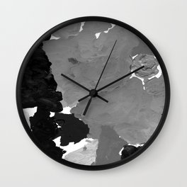 Xelli - abstract black and white minimal modern painting home decor dorm college canvas painting Wall Clock