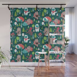 Besties // green background white Yeti brown Bigfoot aqua yellow green and teal pine trees red and coral details Wall Mural