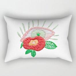 Embroidered Flower Evil Eye Rectangular Pillow