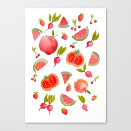 The red composition of fruit and veggies Canvas Print