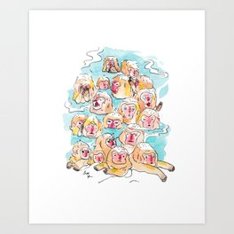 Wild Family Series - Snow Monkey Art Print