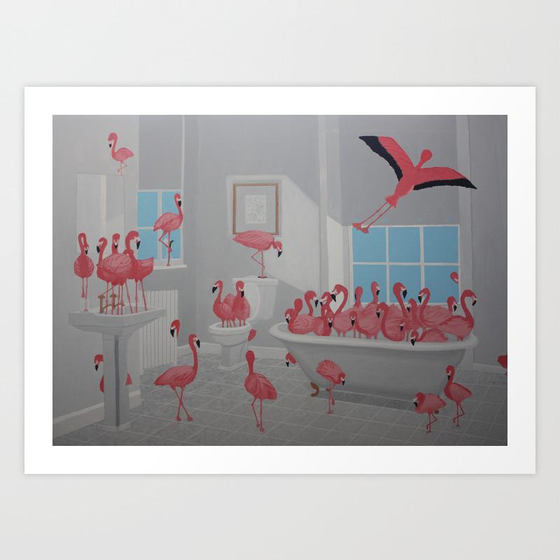 Flamingos In The Bathroom Art Print By Lisangart Society6