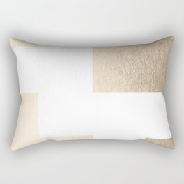 Simply Geometric in White Gold Sands on White Rectangular Pillow