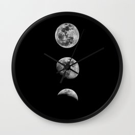 Phases of the Moon print black-white monochrome new lunar eclipse poster home bedroom wall decor Wall Clock