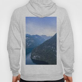 königssee alps bayern forrest drone aerial shot nature wanderlust boat mountains Hoody