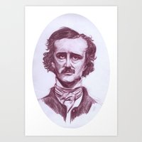 edgar allen poe Art Prints featuring Edgar Allen Poe by danielle n horowitz