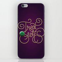treat yo self iPhone & iPod Skins featuring Treat Yo Self by Nana Adwoa Sey
