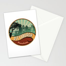 Pittsburgh City Skyline Pennsylvania Retro Vintage Design Stationery Cards