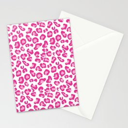 Leopard-Pinks on White Stationery Cards