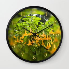 Yellow Brugmansia or Angels Trumpets Wall Clock