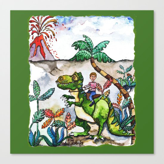 Dinosaur Rider Canvas Print
