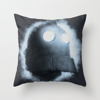 iron giant Throw Pillows featuring The Iron Giant Rises by Chuck Jackson
