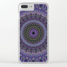 Floral mandala in violet and purple tones Clear iPhone Case