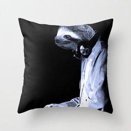 DJ Sloth Throw Pillow