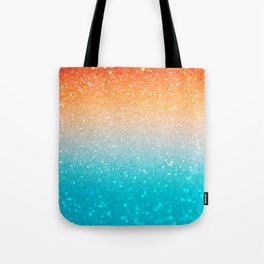 Glitter Teal Gold Coral Sparkle Ombre Tote Bag