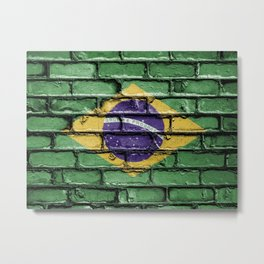 Brazil national flag painted on a brick wall Metal Print