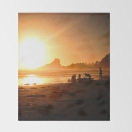 Sunset in Tofino, Cox Bay Throw Blanket